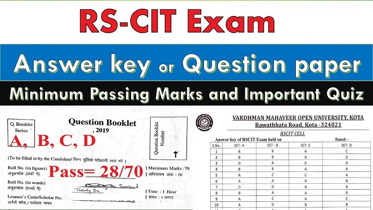 RSCIT Answer Key 19-01-2020 : RS CIT VMOU Paper Solution pdf