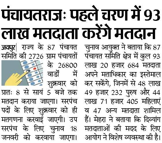सरपंच व पंच पद के चुनाव Results Rajasthan Panchayat chunav First Phase Results 17 Jan 2020