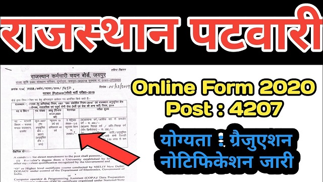 Rajasthan Patwari Recruitment 2020 Full Notification - राजस्थान पटवारी भर्ती
