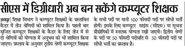 Rajasthan Computer Teacher Bharti 2021 - कंप्यूटर शिक्षक 14600 भर्ती