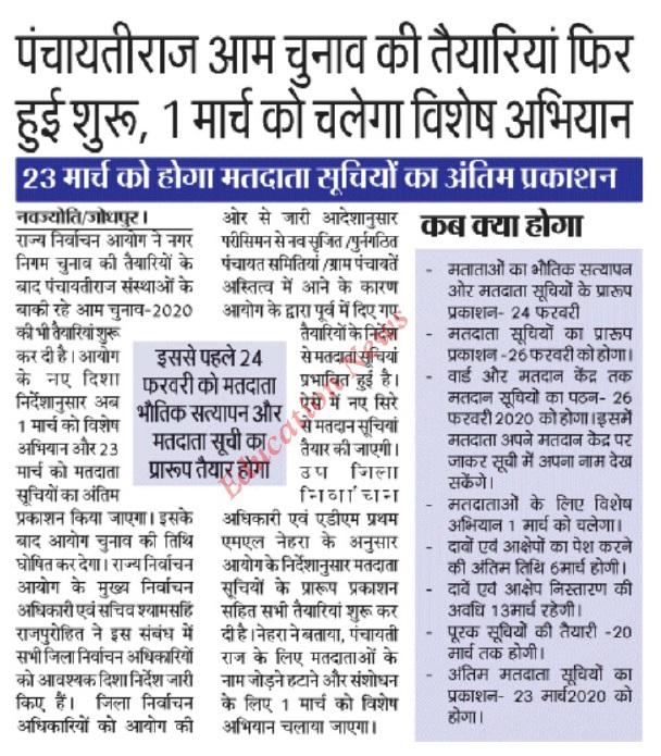 voter list rajasthan 2020 pdf download - sec.rajasthan.gov.in Panchayat Voter List