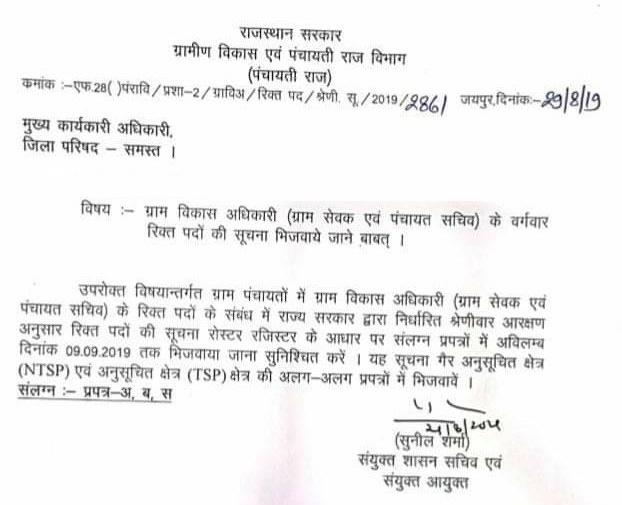 Rajasthan Gram Sevak (VDO) Recruitment 2020 : राजस्थान में ग्राम विकास अधिकारी ग्राम पंचायत सचिव भर्ती