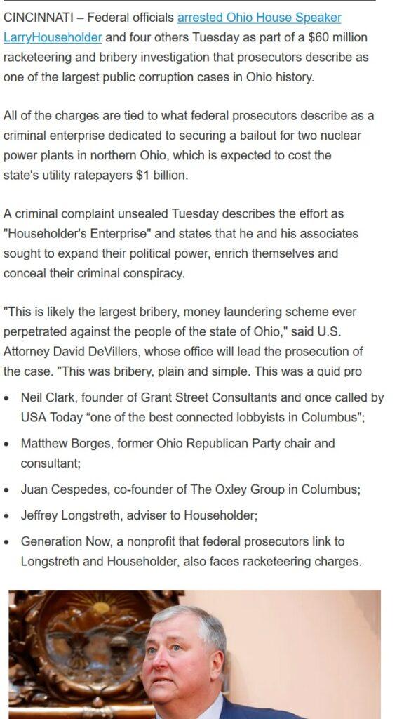 Larry Householder  News bribery case : Ohio House Speaker Larry Householder arrested today 2020
