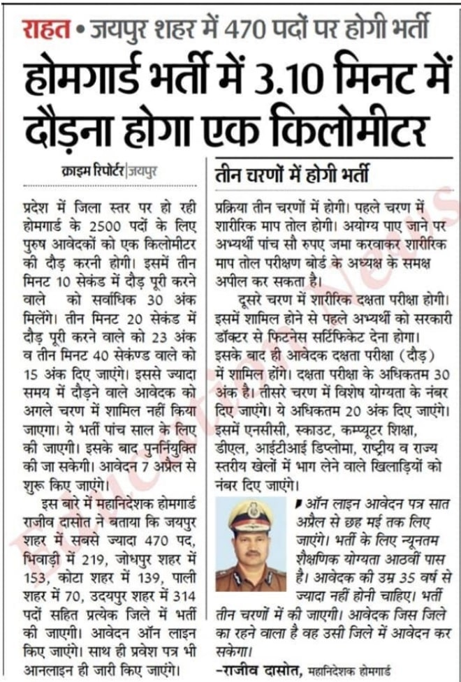 Rajasthan Home Guard Recruitment Selection Process