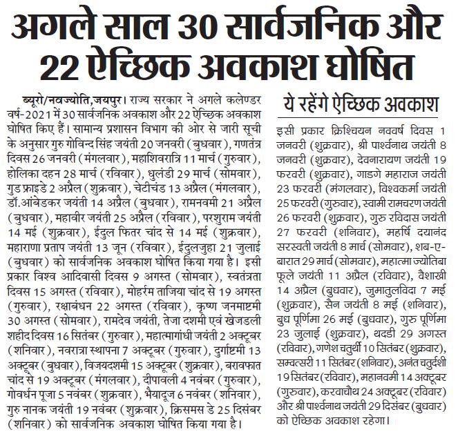 राजस्थान गवर्नमेंट (Government) कैलेंडर सार्वजनिक अवकाश 2020 Rajasthan govt Public Holidays