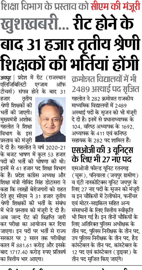 Latest News REET 2020 {रीट समाचार} - राजस्थान रीट परीक्षा 2020