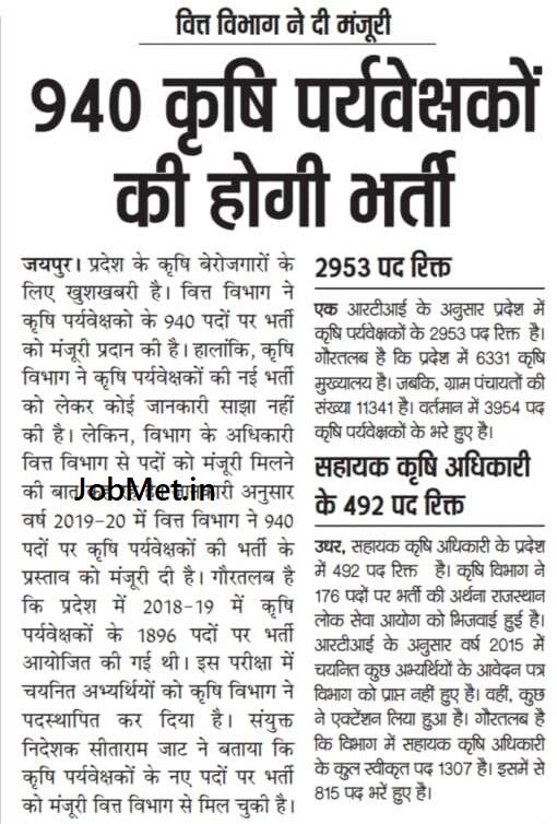 RSMSSB Agriculture Supervisor Recruitment 2021, Rajasthan AG Supervisor Vacancy, राजस्थान एग्रीकल्चर सुपरवाइजर भर्ती