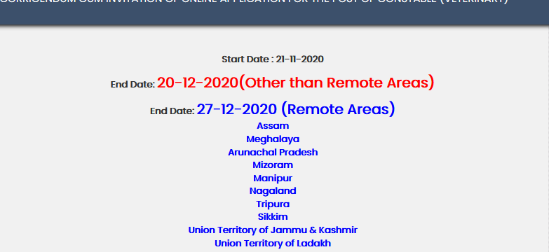 SSB Constable Recruitment 2020 for 1541 Post Online form Last Date