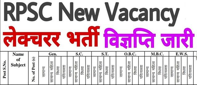 RPSC 1st Grade Teacher Recruitment 2021, RPSC School Lecturer Bharti Notification