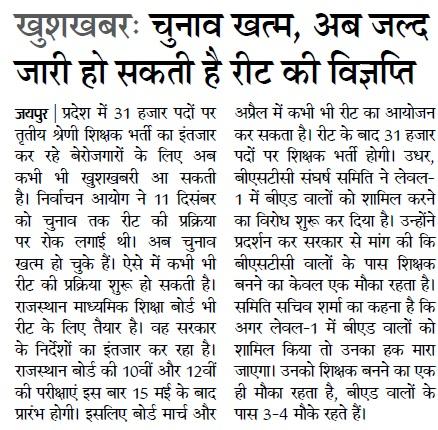Rajasthan REET Notification Application 2021
