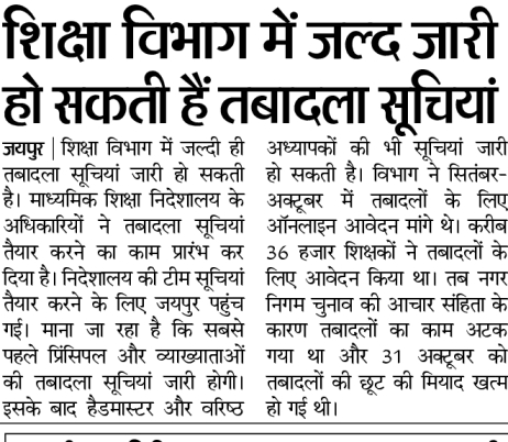 Rajasthan Teacher Transfer List 2021- Transfer Orders 1st, 2nd Grade Teachers शिक्षा विभाग तबादला सूचियां