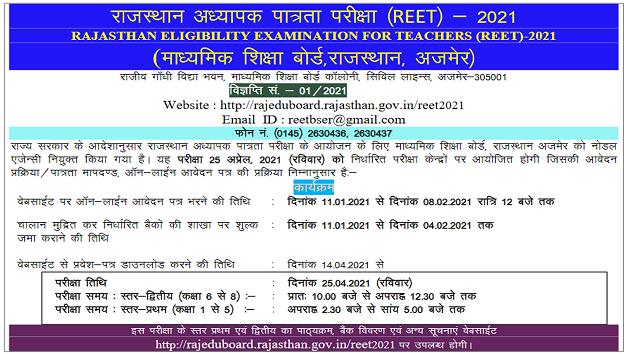 reet bser 2021 official Notification, राजस्थान रीट नोटिफिकेशन