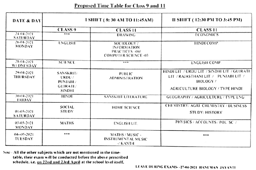 RBSE 11th Time Table 2021, 9th Class Time Table 2021